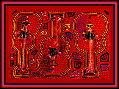 Digital Art - Kuna Indian Guitars by Vagabond Folk Art - Virginia Vivier