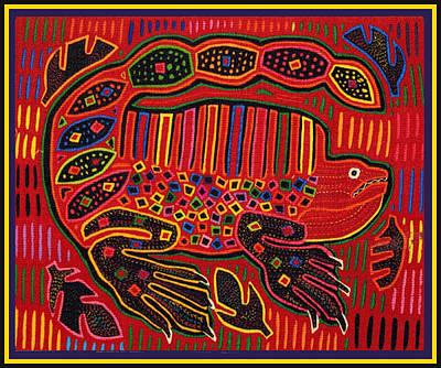 Digital Art - Kuna Indian Iguana Mola Inspired Design by Vagabond Folk Art - Virginia Vivier