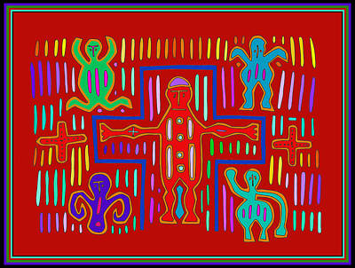 Digital Art - Kuna Indian Mola Crucifix by Vagabond Folk Art - Virginia Vivier