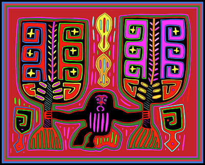 Digital Art - Kuna Indian Mola Man With Fans by Vagabond Folk Art - Virginia Vivier
