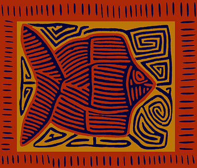 Digital Art - Kuna Indian Pescado by Vagabond Folk Art - Virginia Vivier