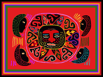 Digital Art - Kuna Indian Sun by Vagabond Folk Art - Virginia Vivier