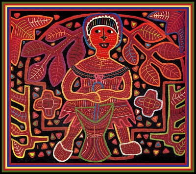 Digital Art - Kuna Indian Woman Mashing Plantain by Vagabond Folk Art - Virginia Vivier
