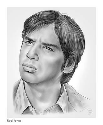 Writer Drawing - Kunal Nayyar by Greg Joens