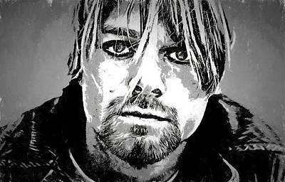 Seattle Drawing - Kurt Cobain Charcoal by Dan Sproul