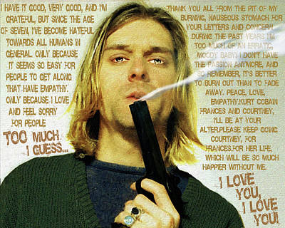 Kurt Cobain Painting - Kurt Cobain Nirvana With Gun And Suicide Note Painting Macabre 2 by Tony Rubino