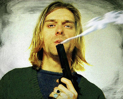 Painting - Kurt Cobain Nirvana With Gun Painting Macabre 2 by Tony Rubino