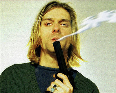 Landmarks Painting Royalty Free Images - Kurt Cobain Nirvana With Gun Painting Macabre 1 Royalty-Free Image by Tony Rubino
