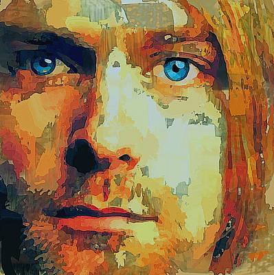 Kurt Cobain Digital Art - Kurt Cobain Portrait by Yury Malkov