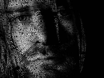 Kurt Cobain Digital Art - Kurt Cobain Text Portrait - Typographic Face Poster With The Nevermind Album Songs Of Nirvana by Jose Elias - Sofia Pereira