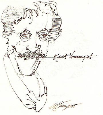 Kurt Vonnegut Art Print by Donna Frizano Leonetti
