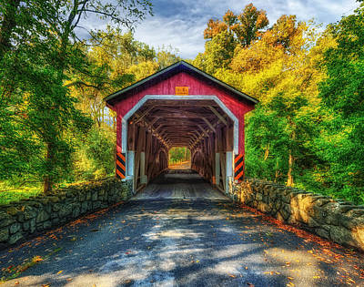 Photograph - Kurtz Mill Covered Bridge - Lancaster Pennsylvania - 1876 by Frank J Benz