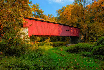 Photograph - Kurtz Mill Covered Bridge - Pennsylvania - 1876 by Frank J Benz