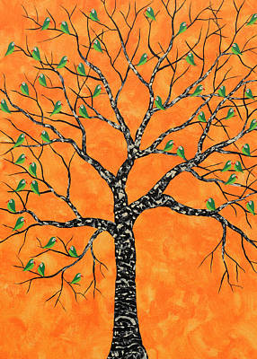 Flock Of Birds Painting - Kurva Vriksh by Sumit Mehndiratta