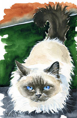 Painting - Kutsal - Birman Cat Portrait by Dora Hathazi Mendes