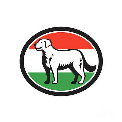 Breed Digital Art - Kuvasz Dog Hungarian Flag Oval Retro by Aloysius Patrimonio