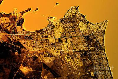 Geography Digital Art - Kuwait City Abstract City Map Golden by Frank Ramspott