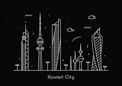 Abstract Landscape Drawing - Kuwait City Skyline Travel Poster by Inspirowl Design