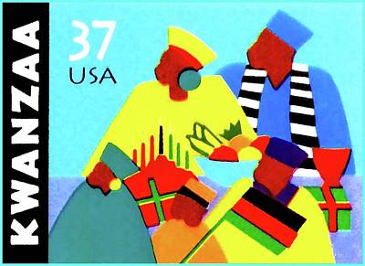 United States Postage Painting - Kwanzaa Holiday  by Lanjee Chee