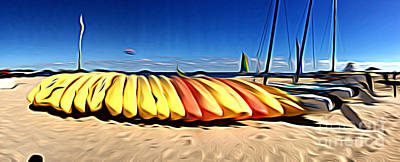 Kayaks On The Beach Panoramic Art Print