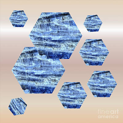 Mixed Media - Blue Kyanite Hexagonal Design by Rachel Hannah