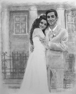 Painting - Kyle And Liliia Wedding Day Portrait by Janet Poirier