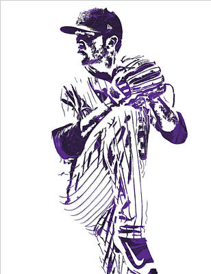 Mixed Media - Kyle Freeland Colorado Rockies Pixel Art 1 by Joe Hamilton