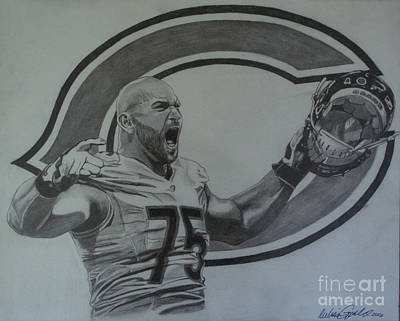 Soldier Field Drawing - Kyle Long Portrait by Melissa Goodrich