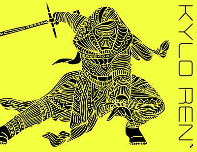 Kylo Ren - Star Wars Art - Yellow Art Print
