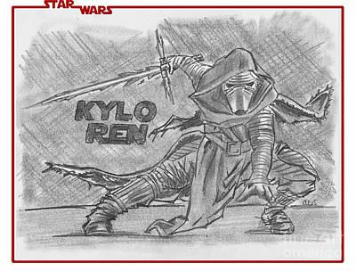 Drawing - Kylo Ren The Force Awakens by Chris DelVecchio