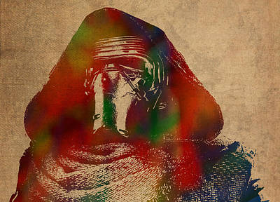 Kylo Ren Watercolor Portrait On Old Canvas Art Print by Design Turnpike