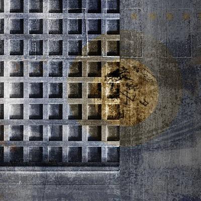 Rectangles Digital Art - Kyoto Doorways In Blue Series 3 by Carol Leigh