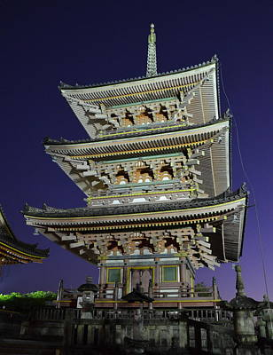 Photograph - Kyoto Shrine At Night by Corinne Rhode