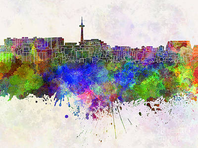 Kyoto Painting - Kyoto Skyline In Watercolor Background by Pablo Romero