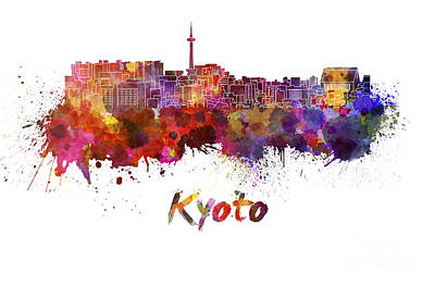 Kyoto Painting - Kyoto Skyline In Watercolor by Pablo Romero