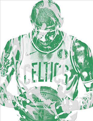 City Mixed Media - Kyrie Irving Boston Celtics Pixel Art 5 by Joe Hamilton