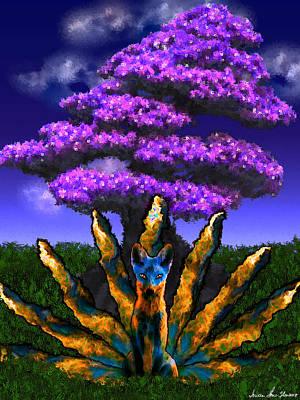Digital Art - Kyuubi No Kitsune by Iowan Stone-Flowers