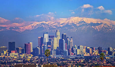 Photograph - L. A. Cityscape With Snow by Lynn Bauer