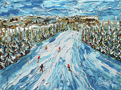 Painting - L' Alpette Skiing Painting Megeve by Pete Caswell