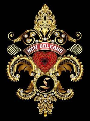 L-fleur-de-lis New Orleans Transparent Back Pick Color Art Print by Bill Campitelle