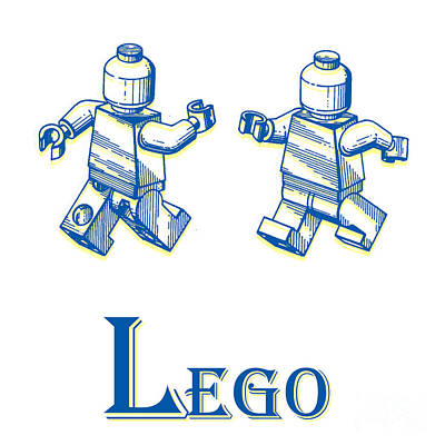 Drawing - L Is For Lego by Edward Fielding