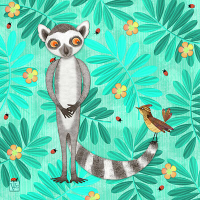 Animal Alphabet Digital Art - L Is For Lemur And Lark by Valerie Drake Lesiak
