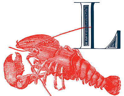 Animal Alphabet Digital Art - L Lobster by Thomas Paul