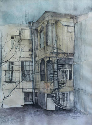 Tbilisi Drawing - L. Pastera Str. by Anastasia Logvinenko
