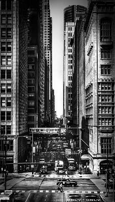 Black And White Photograph - L Train On Monroe St. Bnw by JAA Photo