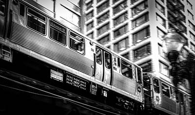 Panning Photograph - L Train Panning Bnw by JAA Photo