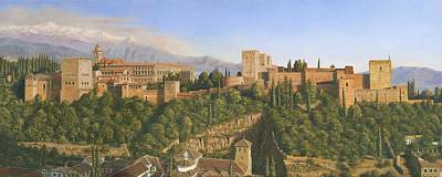 Golden Painting - La Alhambra Granada Spain by Richard Harpum