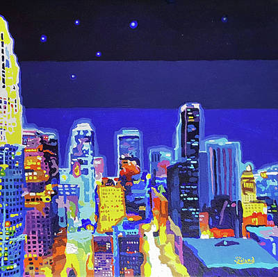 Painting - La At Night In Color by Tracy Roland