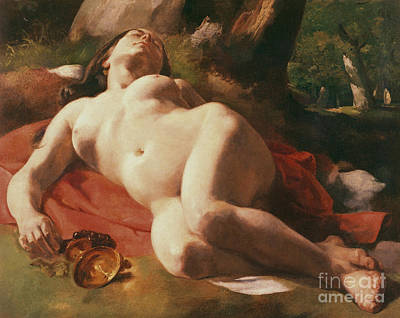 Unclothed Painting - La Bacchante by Gustave Courbet