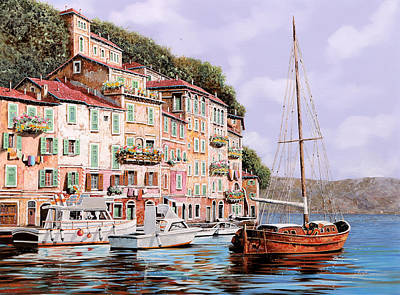 Sunshine Wall Art - Painting - La Barca Rossa Alla Calata by Guido Borelli
